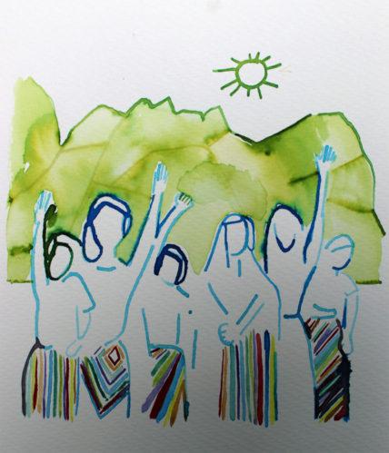 Illustration von winkenden Menschen in Röcken mit Maya-Mustern vor grünen Bergen und einer Sonne