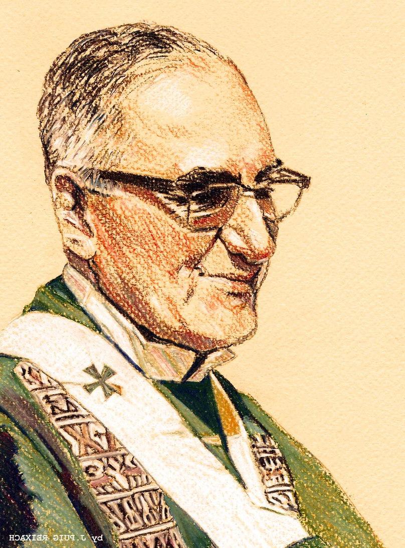 Zeichnung von Oscar Romero im Priestergewand