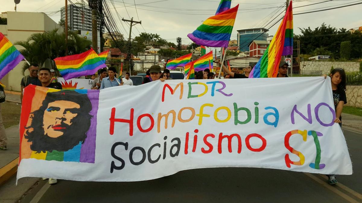Demonstration der Widerstandsbewegung MDR - Homophobie nein, Sozialismus Ja