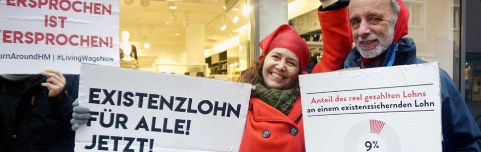 Aktion für existenzsichernde Löhne bei H&M