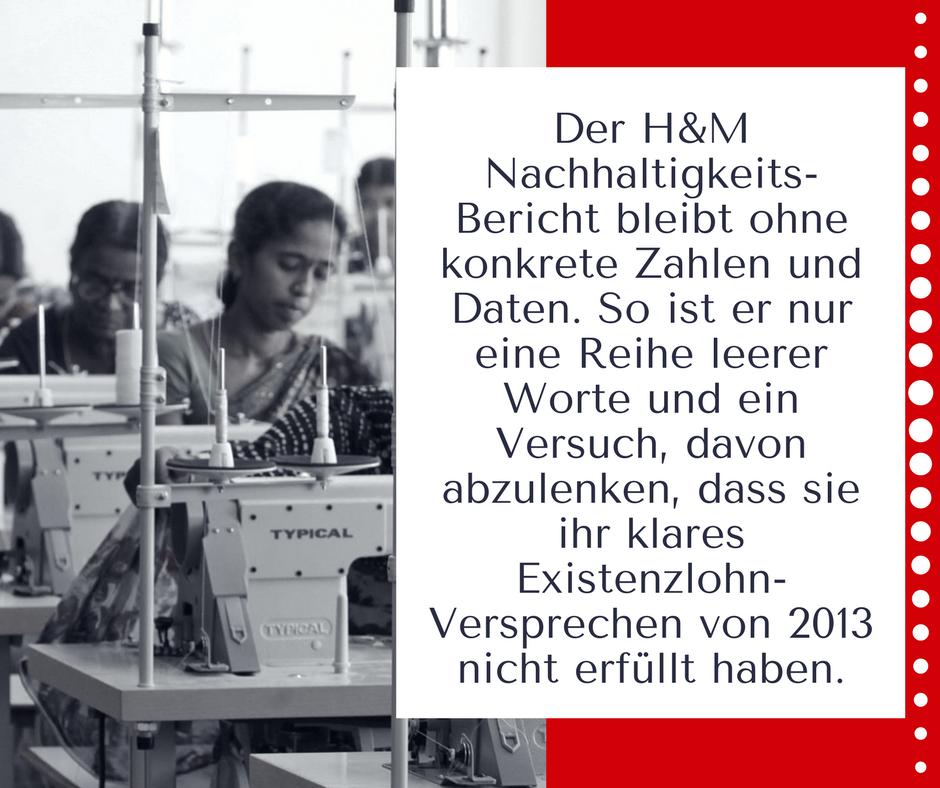 Bild einer Näherin mit kurzfassung des Kommentars zum H&M Nachhaltigkeitsbericht