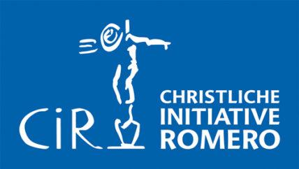 Logo der Christlichen Initiative Romero mit Campesino, der an seinem Spaten lehnt.