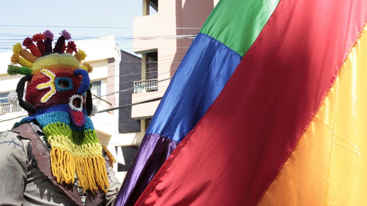 Bunt maksierte Person bei einer LGBTI*-Demo in Mittelamerika.