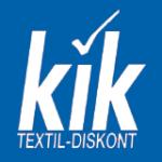 Logo von Kik Weiß auf Blau