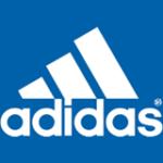 Logo von Adidas in weiß auf blau
