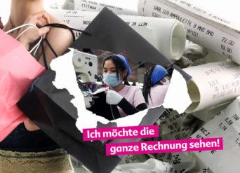 Cover der Aktionspostkarte 'Ich möchte die ganze Rechnung sehen' zum Nachhalen bei Modemarken