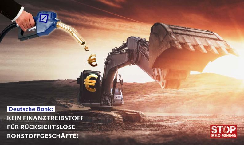 Ein Bagger in einer Mine wird mit Euros aus einer Deutsche Bank Zapfsäule befüllt, Fotocollage