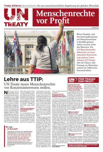Cover der UN Treaty Bündniszeitung