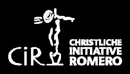 Logo der Christlichen Initiative Romero, weiß auf transparent