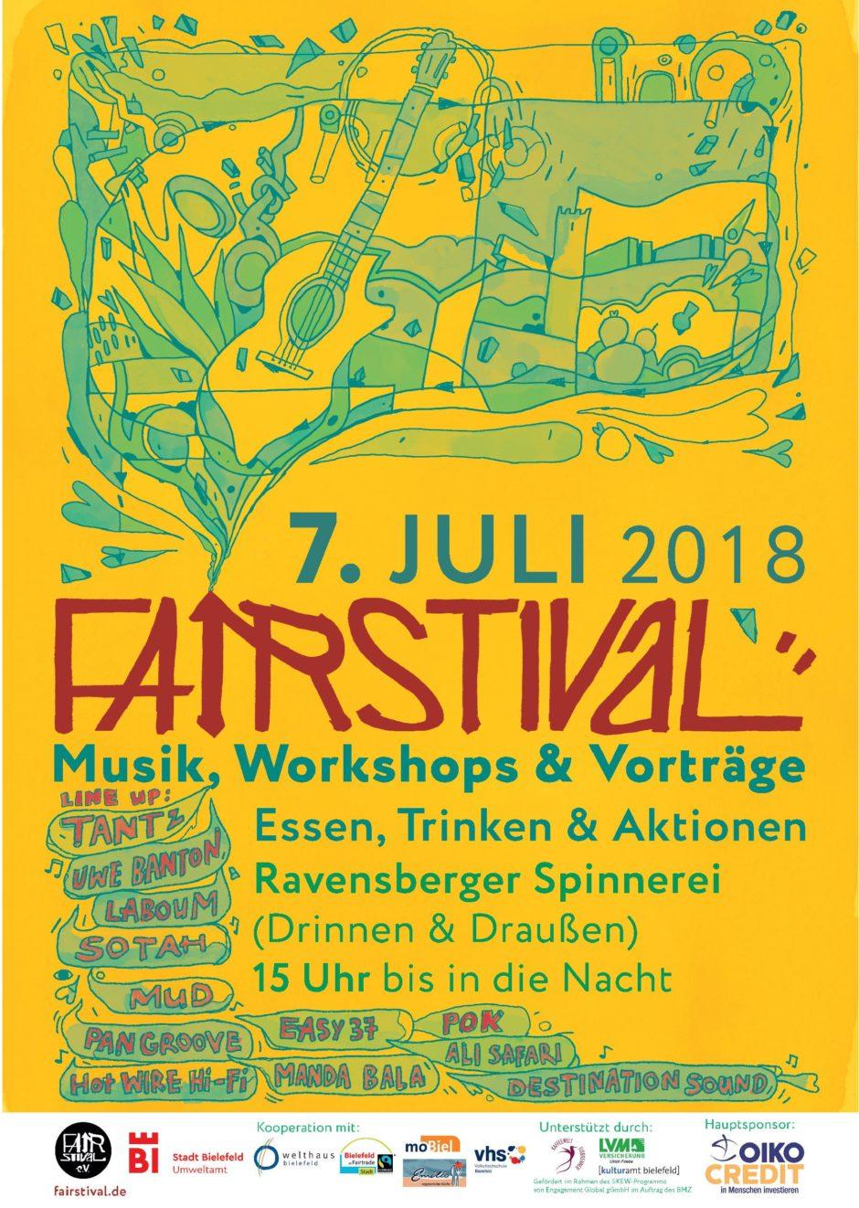 Plakat des Fairstival 2018 in gelb mit grünen Malereien