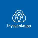 Logo von ThyssenKrupp in weiß auf blau