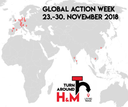 Weltkarte, auf der alle über 30 Orte markiert sind, in denen bei der Global Action Week Aktionenn stattfanden