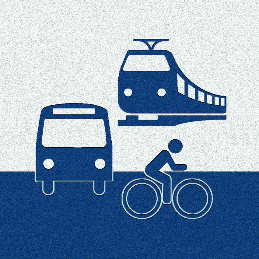 Illustration Mobilität: Bus, Bahn und Fahrrad in blau