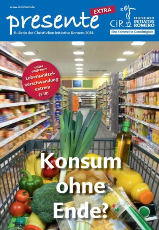 Cover der presente extra Konsum ohne Ende? Ein voller Einkaufswagen in einem Supermarktgang