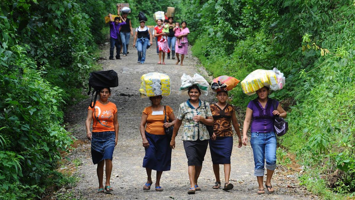 Arbeiterinnen gehen mit Gepäck auf dem Kopf einen Weg entlang.