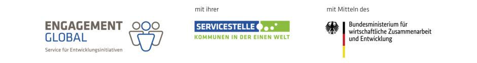 """dreigeteiltes Logo """"Engagement Global"""" mit ihrer """"Servicestelle Kommunen in der Einen Welt"""" mit Mitteln des """"Bundesministeriums für wirtschaftliche Zusammenarbeit und Entwicklung"""""""