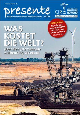 Cover der Presente 3/2018 mit einem Schaufelradbagger zur Kohleförderung im Vordergrund und einer Windkraftanlage im Hintergrund