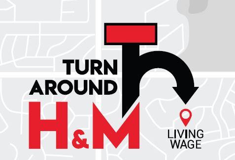 Logo der Turn Around H&M Kampagne - Wir fordern einen #livingwagenow