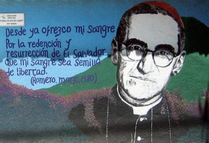 Ausschnitt eines Wandbilds auf dem Land in El Salvador mit Oscar Romero