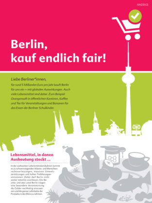 "Cover des Infoflyers ""Berlin, handel endlich fair!"""