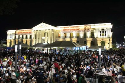Der Platz vor dem Nationalpalast und der Kathedrale zu den Feierlichkeiten am 14. Oktober 2018