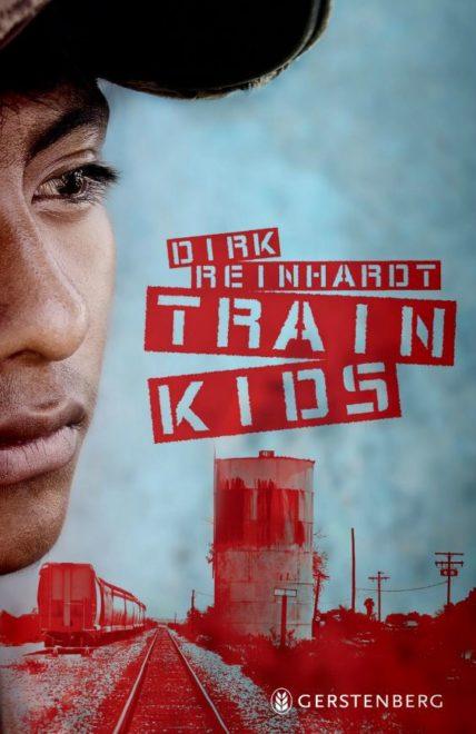 Cover des Buches Train Kids mit einem Zug, Gleisen und einem jungen Mann, der traurig blickt.