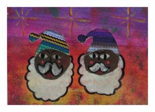 bunte Weihnachtskarte vom Kinderkollektiv Tres Soles
