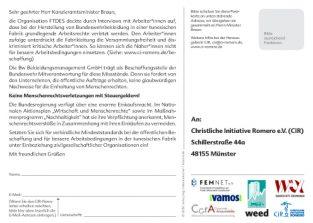 Rückseite der Aktionspostkarte Getarnte Missstände mit Forderungen an Kanzleramtsminister Braun