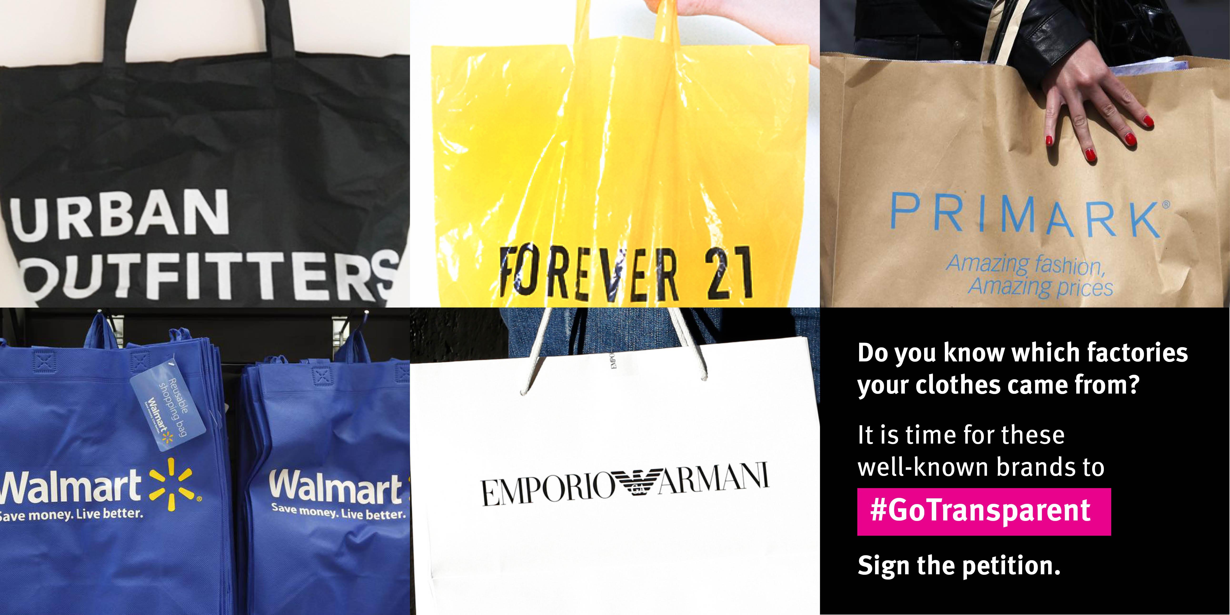 Mehrere Einkaufstüten verschiedener Marken nebeneinander