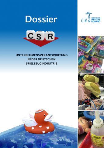 """Coverbild des """"Dossier: CSR – Unternehmensverantwortung in der deutschen Spielzeugindustrie"""" in blau mit roter Gummiente und Fotos von müden Arbeiterinnen, Chemikalien und Spielzeug"""