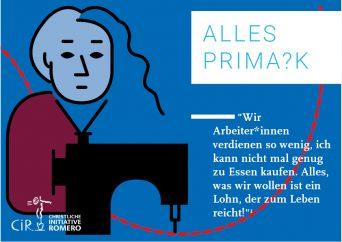 """Postkarte mit Illustration einer Näherin und der Frage """"Alles Prima?k"""""""