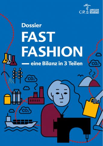 Cover des Dossiers Fast Fashion mit Illustriation einer Näherin und vielen Elementen aus der Lieferkette von Kleidung
