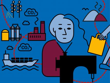 Illustration einer Näherin inmitten der Textilen Kette vom Baumwelfeld bis zur Mülldeponie