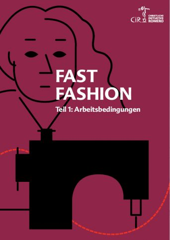 Cover des Dossiers Fast Fashion mit Illustriation einer Näherin