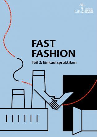Cover des Dossiers Fast Fashion mit Illustriation einer Fabrik und einem Modeladen, die sich die Hand schütteln