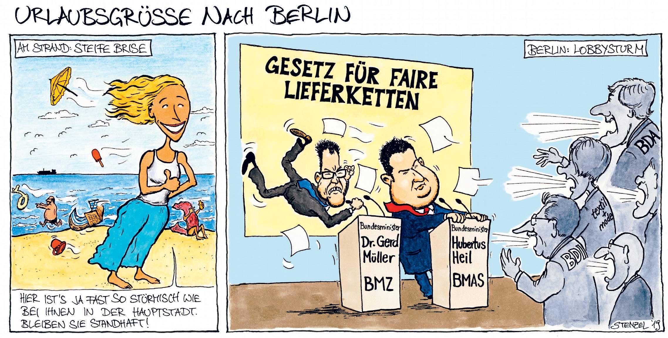 Minister Müller und Minister Heil stellen ihr Gesetz für faire Lieferketten vor und werden fast vom Lobbysturm der Wirtschaft weggepustet