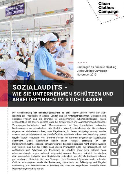 Cover der Studie Sozialaudits – Wie sie Unternehmen schützen und Arbeiter*innen im Stich lassen