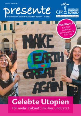 """Cover der presente 1/2020 mit 2 jungen Frauen, die ein Trasnparten halten mit der Aufschrift """"Make earth great again"""" auf einer Fridays For Future Demonstration in Italien"""