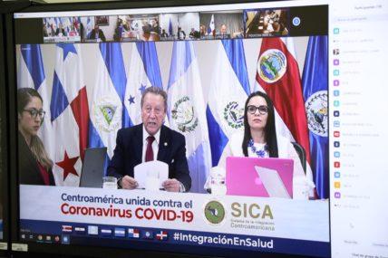 Videokonfernz verschidener Staat- und Regierungschefs zur gemeinsamen Bekämpfung des Coronavirus auf einem Bildschirm.