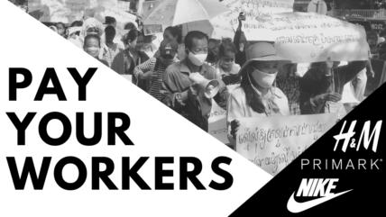 """Streikende Arbeiter*innen Aufschrift """"Pay Your Workers"""""""